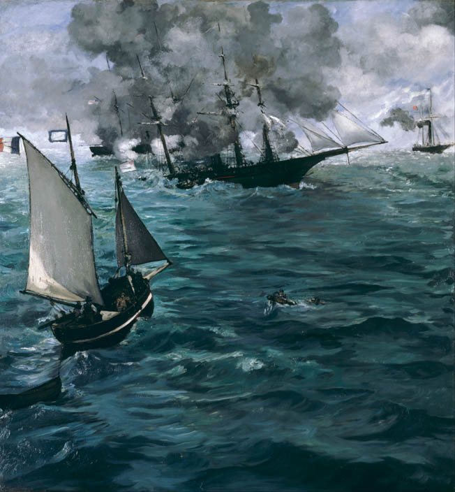 CSS Alabama and USS Kearsarge duel to the death in celebrated French Impressionist painter Edouard Manet's dramatic version of events. Manet claimed to have witnessed the battle firsthand, but he probably did not arrive until afterward.
