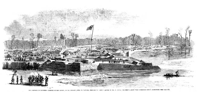 Fort Henry, a five-sided earthen fort on a bend in the Tennessee River, is shown in a period sketch by Henri Lovie. The Tennessee River was in flood at the time of battle, and parts of the low-lying site were awash with two feet of water.