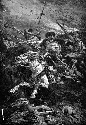 Attila's fanatical cavalry charges the enemy in Alphonse de Neuville's 19th-century illustration, The Huns at the Battle of Chalons.