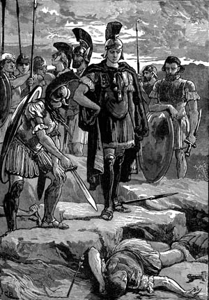 Alexander looks down on the assassinated body of Darius, who was dispatched by the Bactrian satrap Bessus.