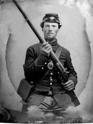 A soldier from the 120th Ohio Regiment in happier days. Some 300 soldiers from the regiment were captured on board the City Belle.