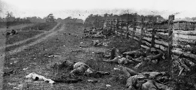 Dead Confederate soldiers from Louisiana lay fallen alongside Hagerstown Turnpike after the Battle of Antietam. This was one of the photos that shocked the nation when displayed in Brady's New York City studio.