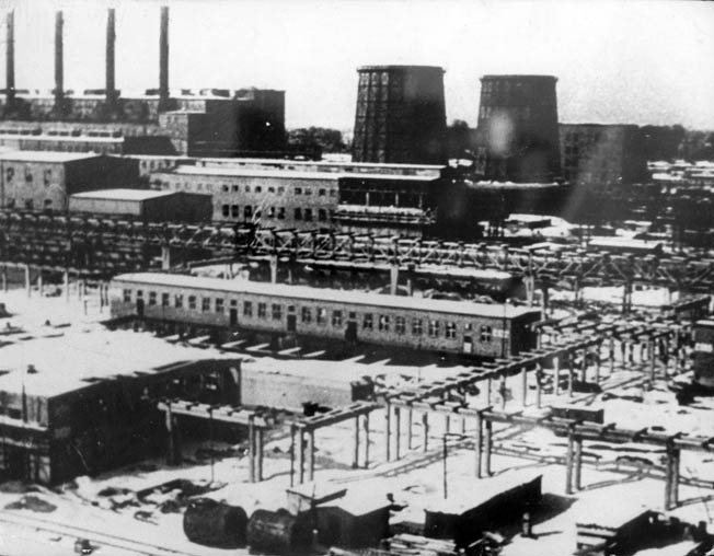 This wartime image captures the stark chemical plant where the lethal gas Zyklon-B was manufactured for use in the gas chambers of the Nazi death camp at Auschwitz.