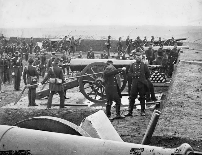 The 1st Connecticut Heavy Artillery takes part in a drill at Fort Richardson in Arlington, Virginia, as part of the ongoing defense of Washington, D.C.