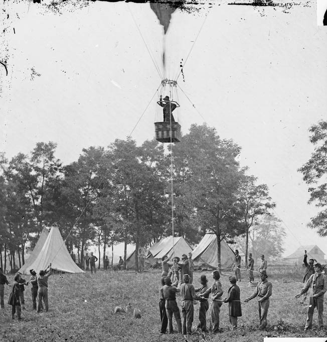Lowe aloft in the Intrepid. The Balloon Corps furnished invaluable reconnaissance information to Union commanders when the Confederates went over to the offensive in the campaign.