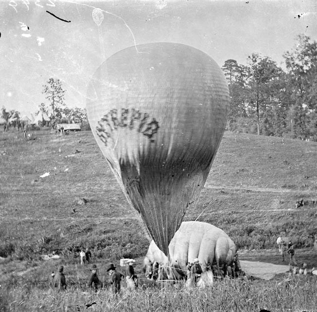 Lowe replenishes the larger Intrepid war balloon from the smaller Constitution during the Peninsula Campaign.