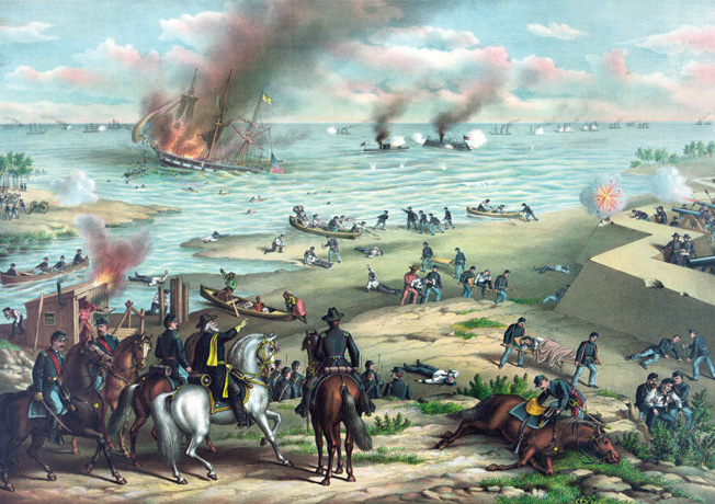 Two days of action at Hampton Roads are condensed in this period lithograph. At left Union troops rescue sailors from the USS Cumberland, and at right the two ironclads trade shots at close range.