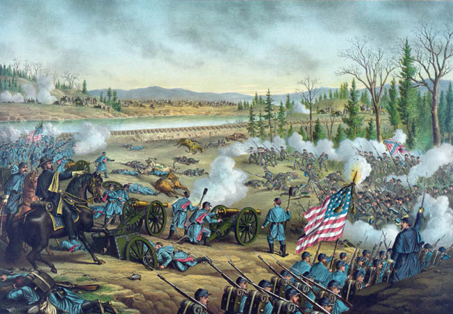 Union commander William Rosecrans gestures toward the onrushing Confederates during the height of the Battle of Stones River. It would take two days of fighting to decide the victor.