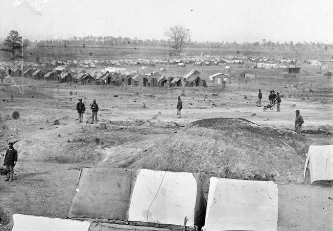African American troops photographed in camp at Fort Harrison, renamed Fort Burnham after slain Brig. Gen. Hiram Burnam.