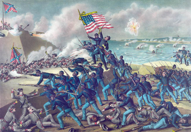 This well-known Kurz & Allison print shows Colonel Robert Shaw, center, being fatally wounded while leading the doomed attack of the African American 54th Massachusetts on Fort Wagner in July 1863. The fort was located on Morris Island, south of Charleston.