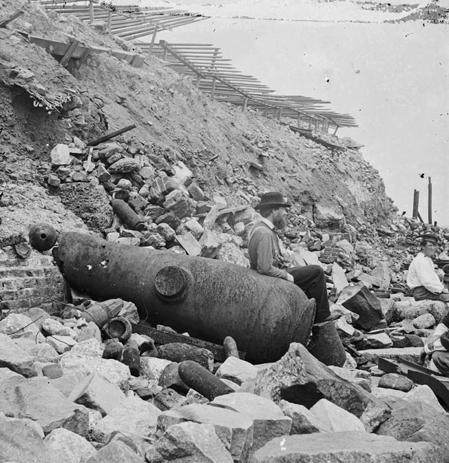 The wreckage-strewn site of the Marines' failed landing at Fort Sumter on September 8, 1863. Some 21 Marines later died at Andersonville prison.
