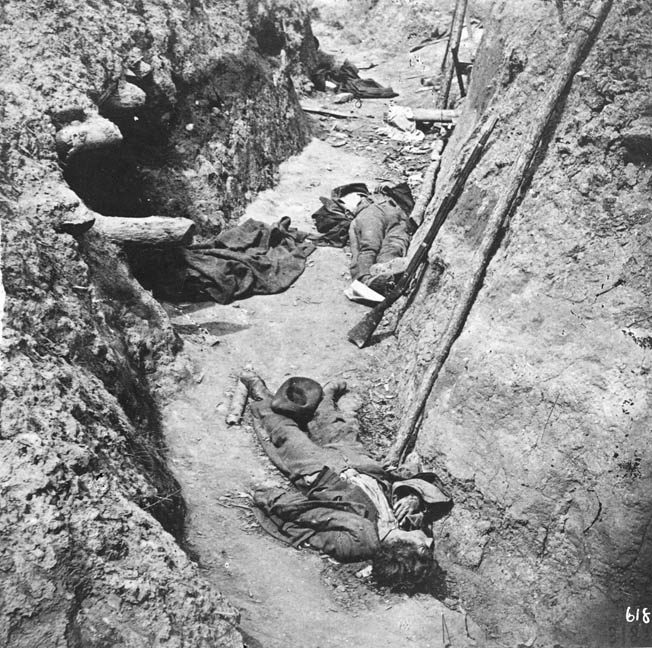 Confederate dead lie where they fell in a trench inside Fort Mahone. The vicious fighting there prefigured the trench warfare in World War I by a good 50 years.