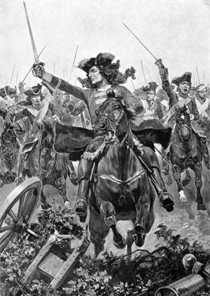 Prince George of Hanover leads a cavalry charge at Oudenarde in a romantic depiction of the battle; in reality, his horse was shot from under him and he charged on foot.