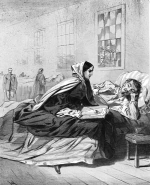 A nurse helps a wounded soldier in the Army of the Potomac write a letter home. Homesickness was epidemic during the war.