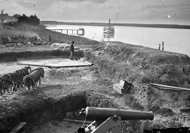 The view of Ossabaw Sound from inside Fort McAllister after its capture. Before Sherman could storm Savannah, Lt. Gen. William Hardee evacuated the city on December 21.