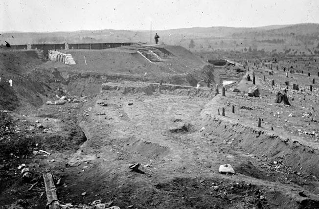 A photograph of Fort Sanders take after the battle.
