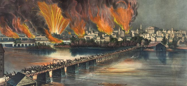 Richmond burns as Confederate troops evacuate the capital city on the night of April 2. Some 800 buildings caught fire in the blaze.