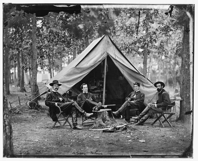 Union intelligence chief Colonel George Henry Sharpe is pictured with his staff at Brandy Station in June 1863. Left to right are Sharpe, John C. Babcock, an unidentified man, and John McEntee.