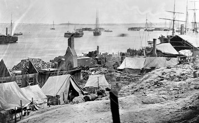 he waterfront at City Point photographed after the explosion. Lt. Gen. Ulysses S. Grant had been briefed the morning of the explosion on the suspected presence of Confederate spies on the depot grounds. The explosion caused substantial damage in lives and property but in no way deterred the Union war effort.