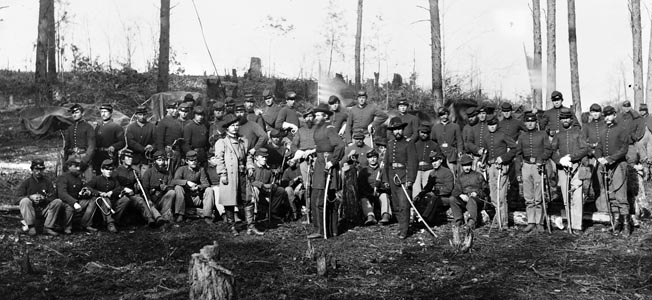 Officers and men of Company K, 1st U.S. Cavalry. The reserve regiment helped beat back Confederate counterattacks at Kelly's Ford.