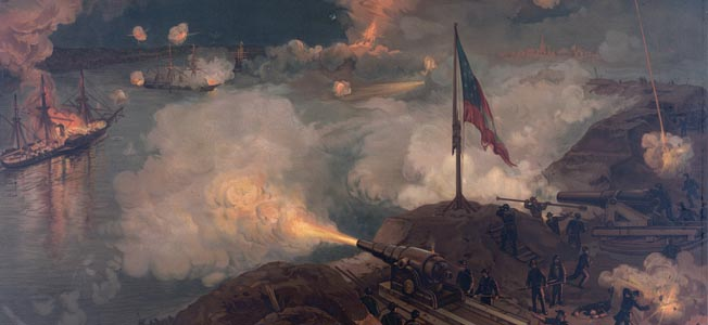 The USS Mississippi, left, burns fatally  under Confederate bombardment from Port Hudson in this painting by J.O. Davidson. Two Union ships made it safely upriver.