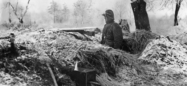 A solitary German soldier occupies a defensive position on the Russian steppe sometime during the winter fighting of 1943-1944.
