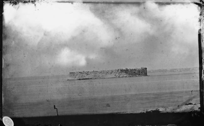 Charleston's Fort Sumter, pictured in August 1863, was much fought over by Union and Confederate forces throughout the Civil War. U.S. Marines took a turn at capturing the fort.