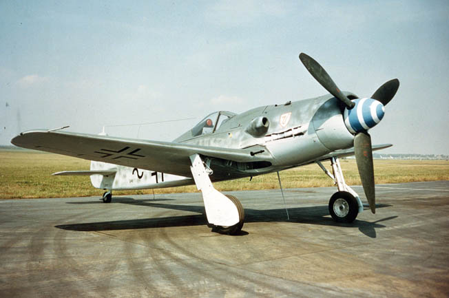 A captured Fw-190 displayed by the U.S. Air Force. When hostilities ended in Europe, the Luftwaffe had more than 1,600 FW-190s of which more than 800 were ground-attack variants.
