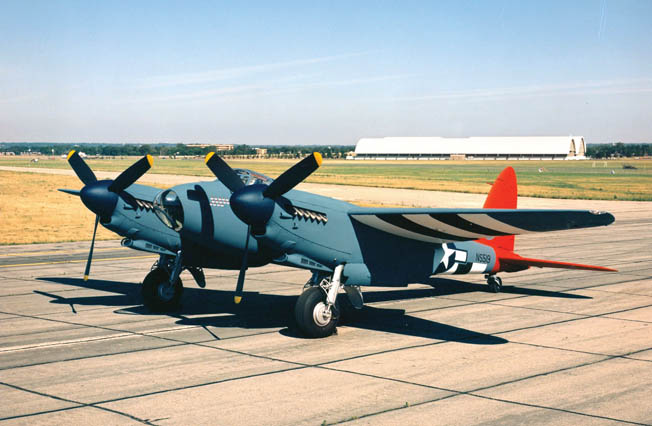 A restored de Havilland Mosquito DH-98 in the U.S. Air Force Collection at Wright-Patterson AFB near Dayton, Ohio, painted in the livery of a weather recon plane of the USAAF 653rd Bomb Squadron. Mosquitos were still in active service for several nations a decade after the war.