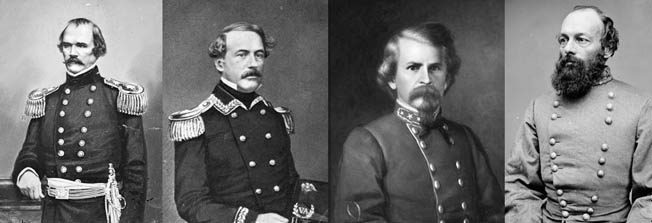 Left to right are Confederate Generals Albert Sidney Johnston, Robert E. Lee, Earl Van Dorn, and Edmund Kirby Smith. All served in the 1st or 2nd U.S. Cavalry before the war.