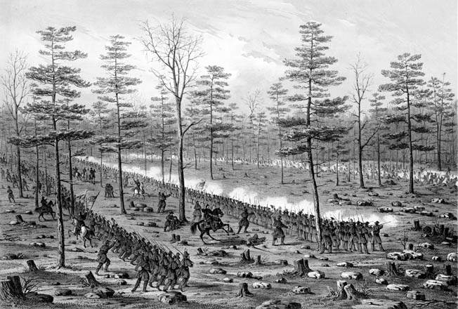 Colonel John Beatty's Union brigade, composed of Midwestern troops from Ohio, Indiana, and Kentucky, reinforce the right flank against Maj. Gen. Patrick Cleburne's Confederates. Beatty was soon forced back with heavy losses.