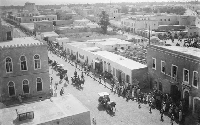 Italian soldiers march through the streets of Tripoli. On October 11, 1911, the Italians landed an expeditionary force of 9,000 infantry supported by a few artillery and cavalry units.