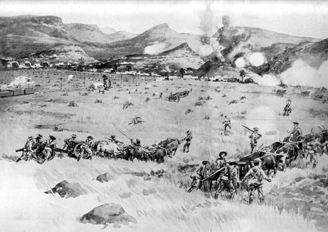 A British Royal Navy 12-pounder battery goes into action in the foreground at Colenso as Boer artillery returns fire from the distant hills. British soldiers can be seen taking cover behind large rocks as others advance toward the Tugela River.