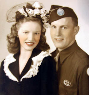 Nobles married Bette Ridley on April 25, 1943, while he trained at Fort Mackall, North Carolina.