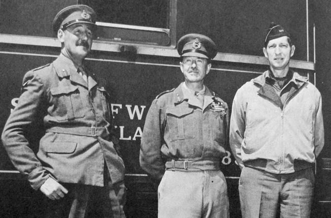 Allied brain-trust in Italy (l. to r.): Lieutenant General Sir Oliver Leese (Eighth Army), Field Marshall Sir Harold Alexander (commander of Allied Armies in Italy), Lieutenant General Mark Clark (Fifth Army).