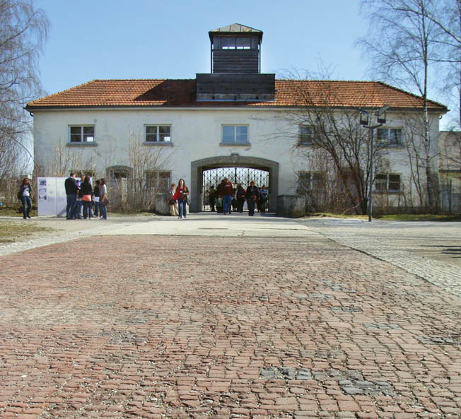 The main gate to the prisoner enclosure at the Dachau Concentration Camp Memorial Site.