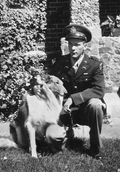 ABOVE: Lieutenant Thomas Flynn, shown with his pet collie Biff. BELOW RIGHT: The quiet Luxembourg village of Hosingen before the battle.