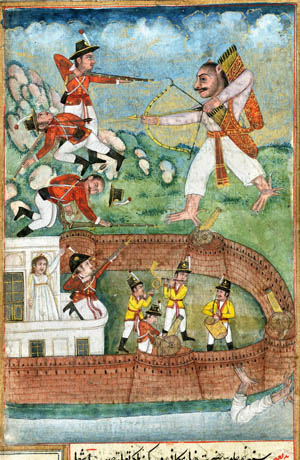 The protracted conflict between the Kingdom of Mysore and the British East India Company is depicted in a work of art showing a mythical Indian figure battling British soldiers. Pressed with fresh demands by the British, Tipu Sultan stressed that he had adhered firmly to existing treaties.