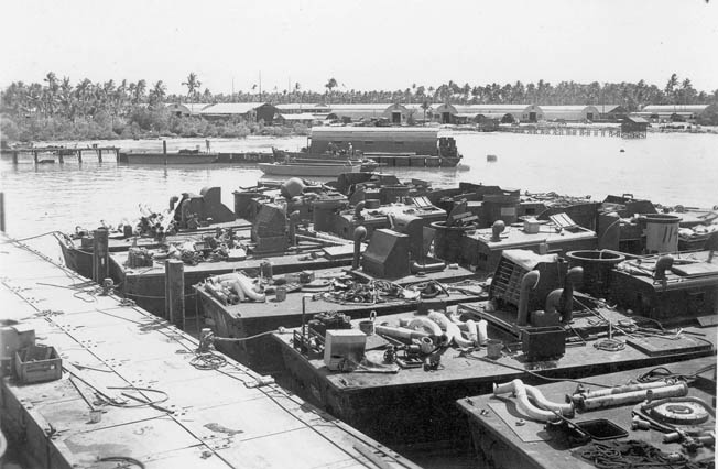 After the war, the U.S. PT boat fleet was either scrapped or sold to private parties or other nations. Here a flotilla of obsolete boats at an unidentified naval scrap yard wait silently to meet their doom.