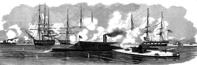 Following the inconclusive battle at Hampton Roads shown in this Harper's Weekly illustration, the USS Virginia returned to port. The Confederates scuttled the Virginia on May 12, 1862, rather than risk her capture by Union forces.