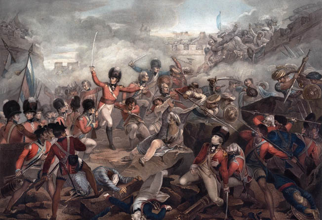 Redcoats and Sepoys fight at close quarters during the height of battle at Seringapatam. Colonel John Sherbrooke leads his men in a fresh attack as Lt. Col. James Dunlop with bandaged hand watches.