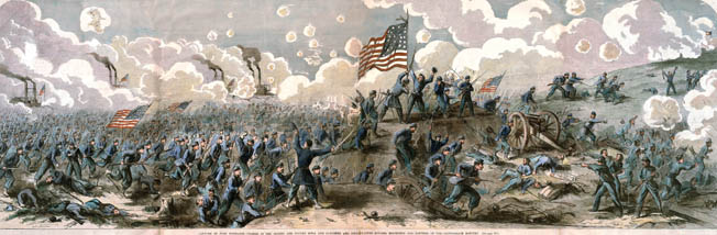 Union Brig. Gen. Charles F. Smith's troops storm Fort Donelson, overrunning a battery and breaching part of the defenses on the Confederate right flank. Union morale ran high throughout the campaign.