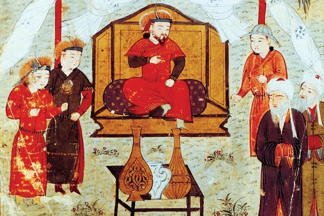 Hulagu Khan (center).