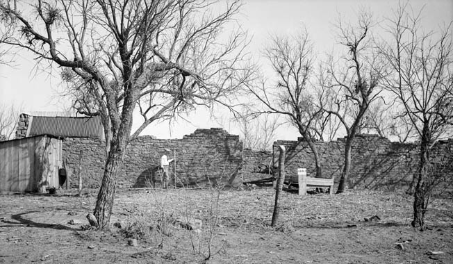 The crumbling remains of Fort Belknap, Texas, were photographed in 1934. The fort, located on the Brazos River, served as the home base for the 2nd U.S. Cavalry Regiment, commanded by then Colonel Robert E. Lee.