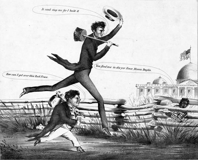 A political cartoon from the presidential race of 1860 shows a long-legged Lincoln easily outdistancing Douglas—something he did in the election itself.