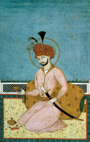 A 16th-century Persian shah is shown with a kiliji.