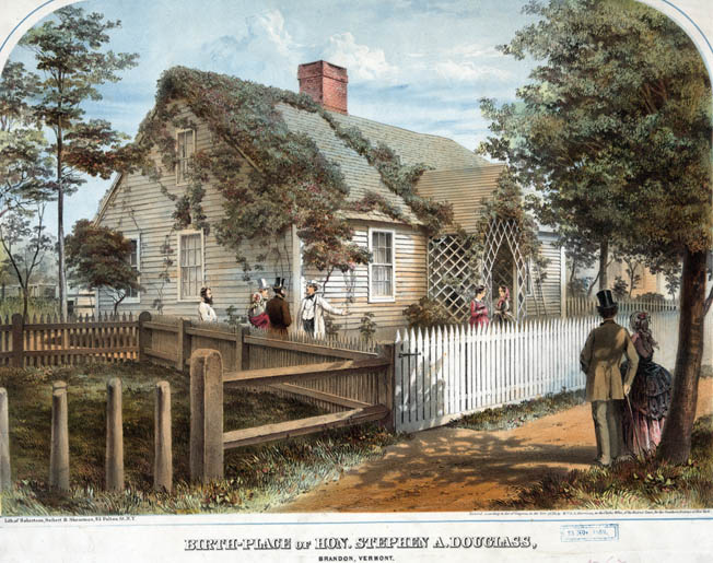 The birthplace of Stephen Douglas in Brandon, Vermont, as depicted in a somewhat bucolic print in 1859, one year after his famous debates with Lincoln.