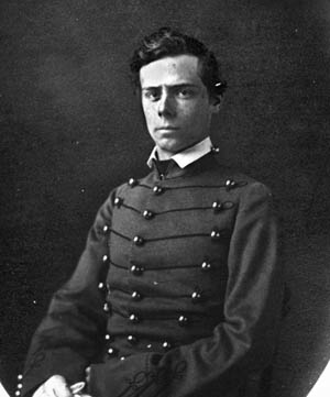 Captain Julius W. Adams, Jr., Class of 1861, in his West Point cadet uniform. Adams commanded the 4th U.S. Regiment at Gettysburg.