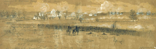 Mansfield's XII Corps exchanges fire with Confederates at 8 am in this battlefield sketch by Alfred Waud. Mansfield is shown on horseback in the background, but in reality he had already been mortally wounded by that time in the battle.