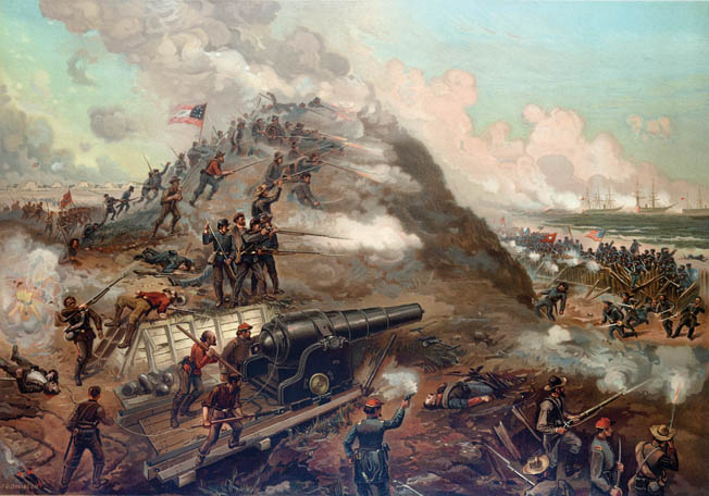 In a desperate bid to slam shut the last remaining Confederate doorway to the sea, Union sailors and marines press their attack, yard by bloody yard, in a six-hour assault that left the beach in front of Fort Fisher littered with the dead. In the foreground at left is the defenders' large Armstrong rifled cannon.